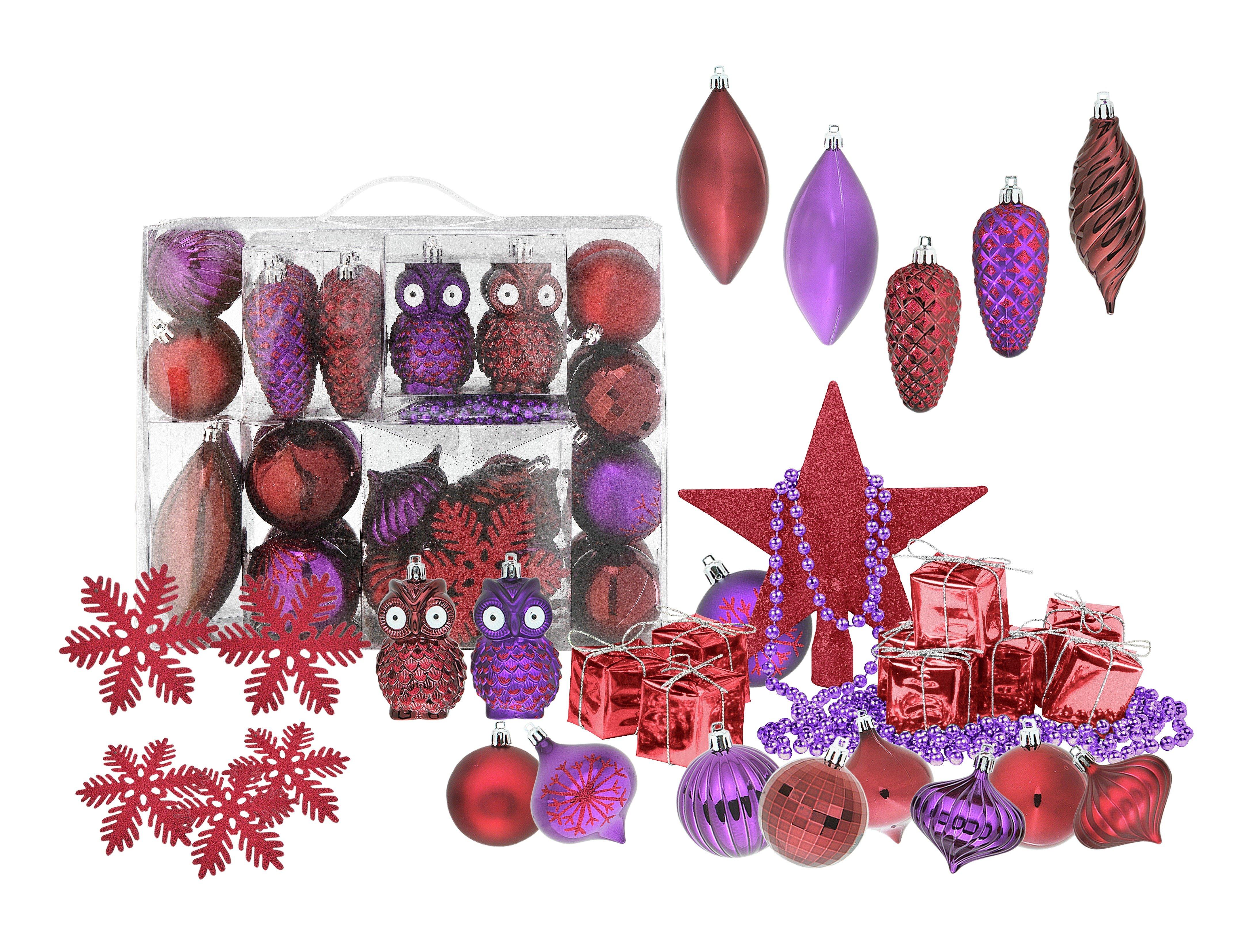 Argos 48 Piece Wild Bauble Pack - Berry