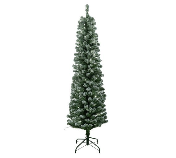 Buy HOME 6ft Pre Lit Snow Tipped Pencil Christmas Tree Green At  - Pre Lit Pencil Christmas Tree