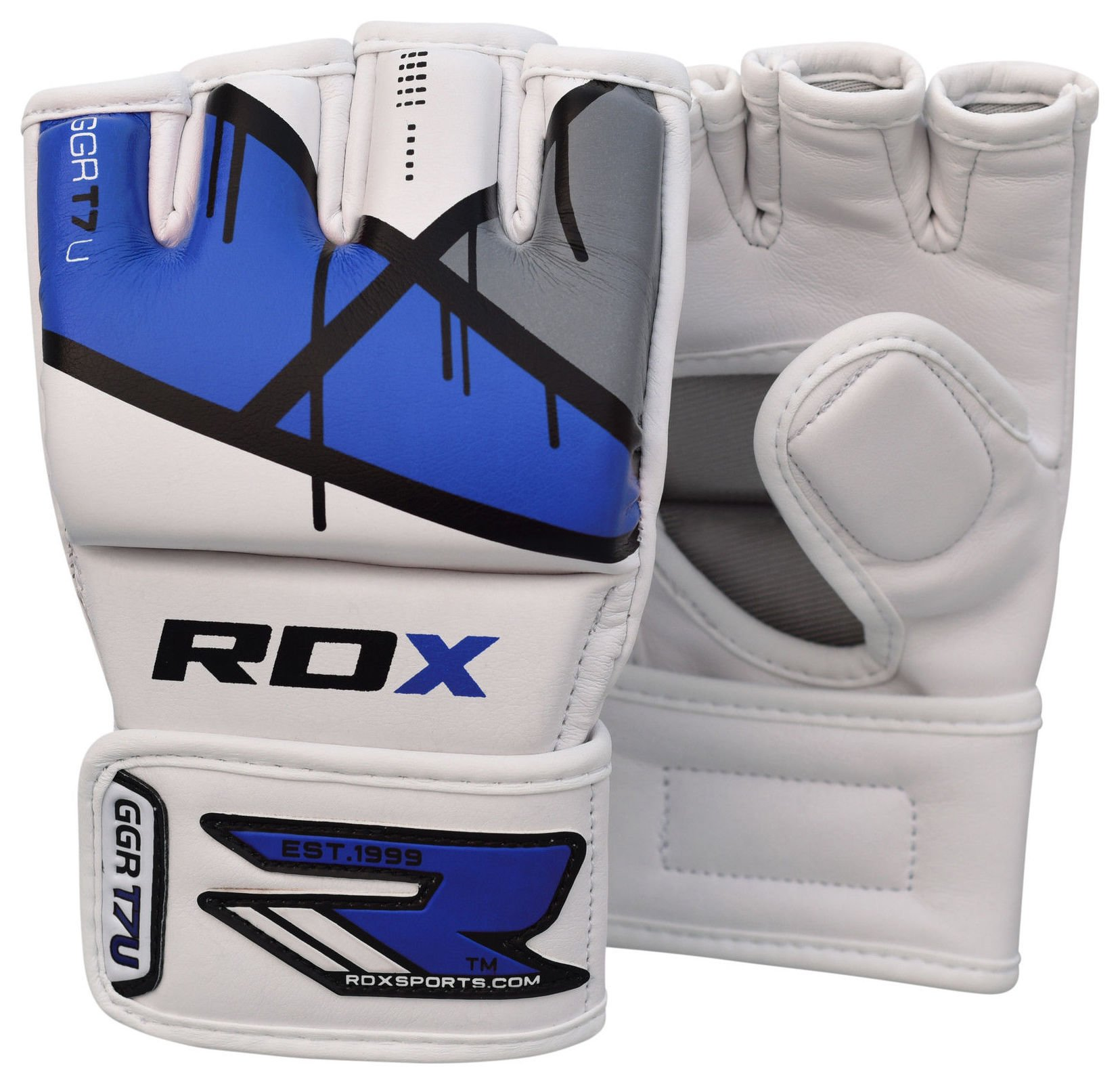 RDX - Leather X Grappling Gloves Blue - Medium/Large lowest price