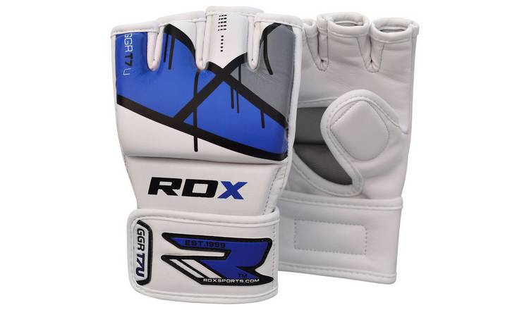 RDX Leather X Grappling Gloves Blue - Medium/Large