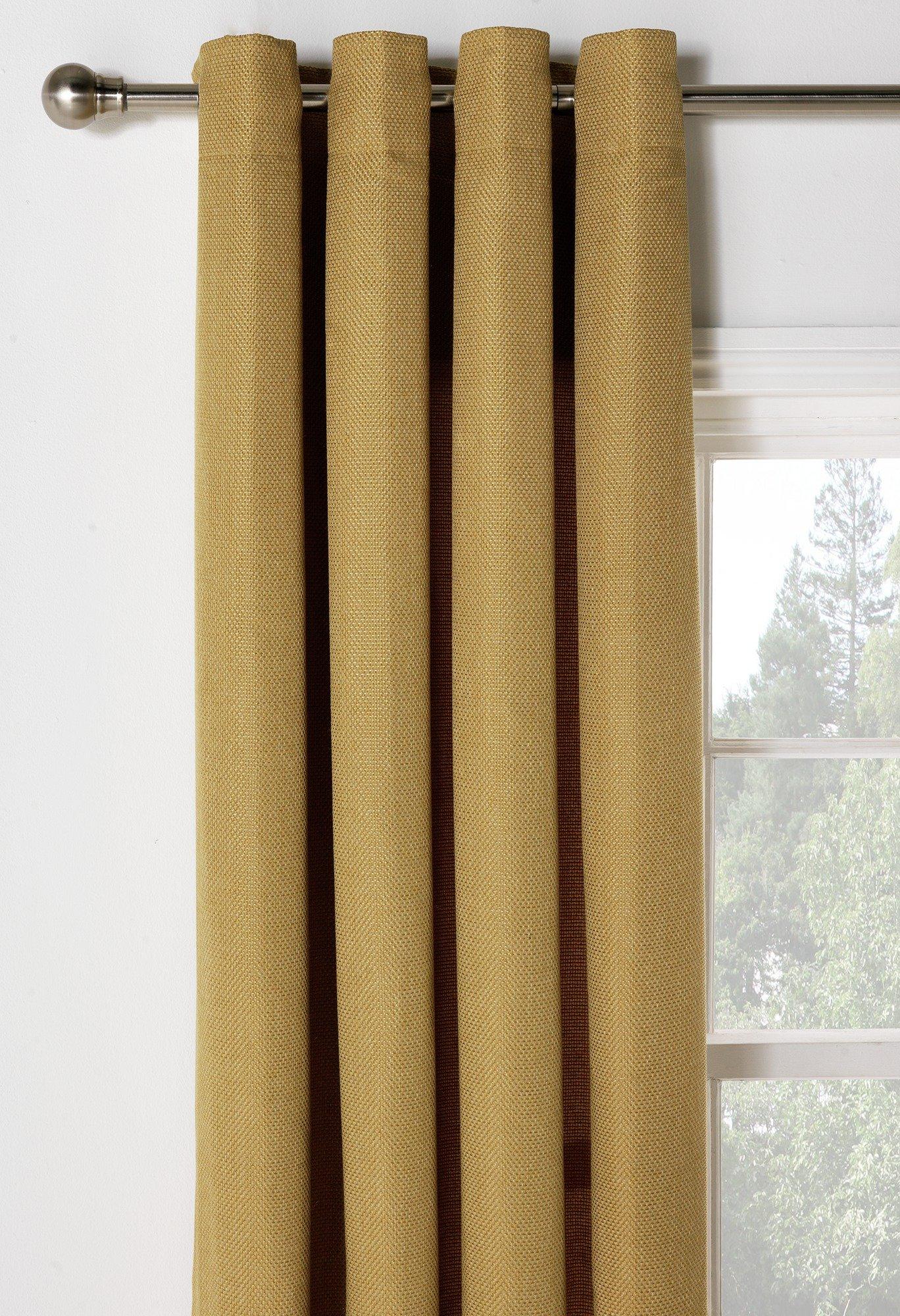 Heart of House Hudson Lined Eyelet Curtains-117x137cm-Ochre.