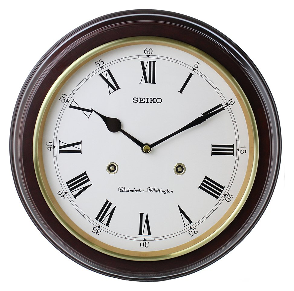 Seiko Wooden Round Dual Chime Wall Clock