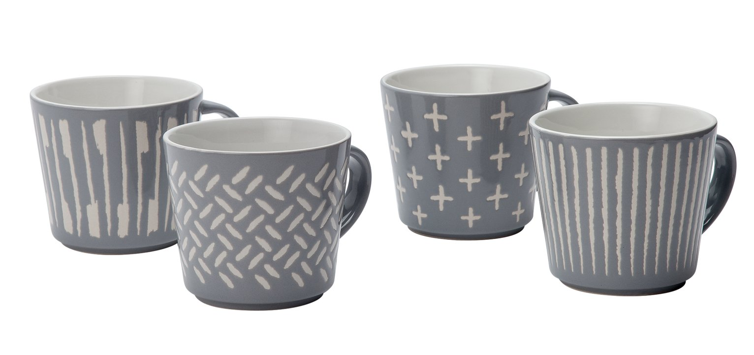 Image of Collection - Grey Etched Mugs - Set of 4