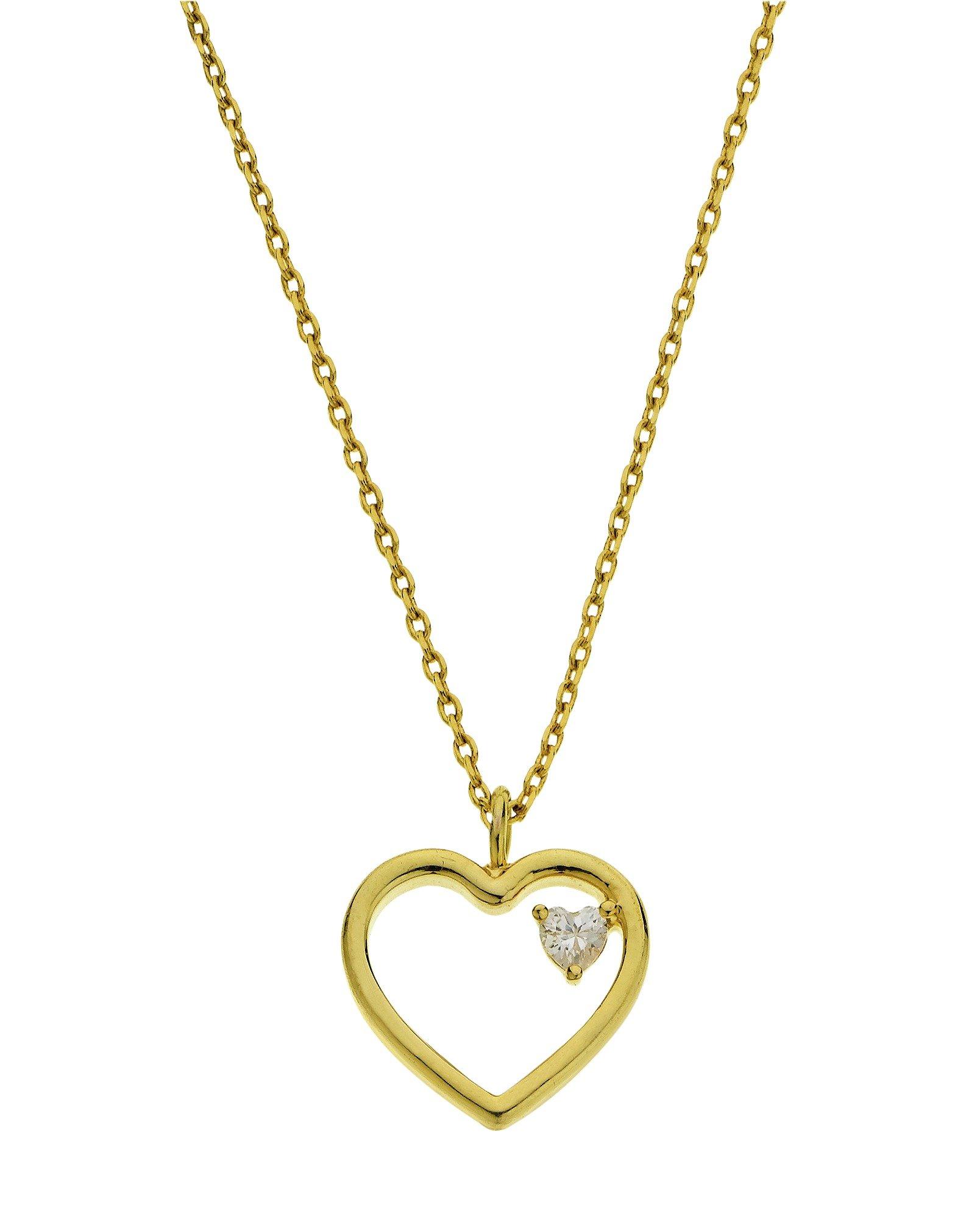 Amelia Grace Gold Colour Open Heart Pendant 16 Inch Necklace