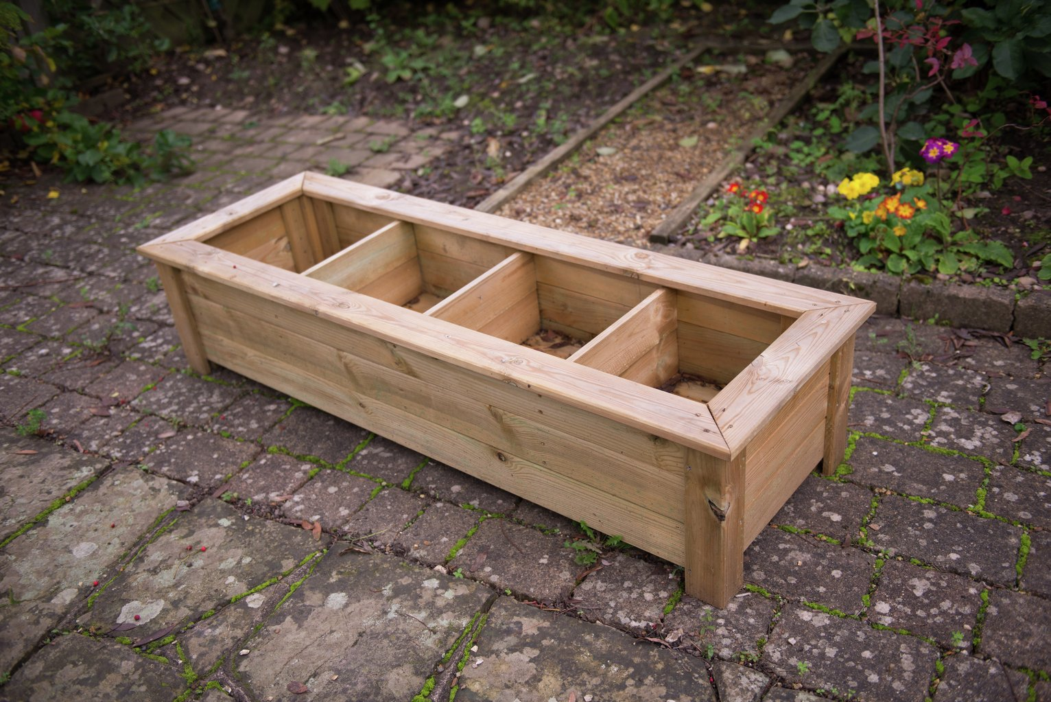 Image of Forest Bamburgh Raised Natural Wooden Planter Table.