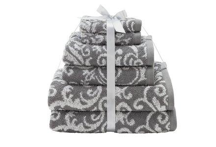 HOME Damask 6 Piece Towel Bale - Grey