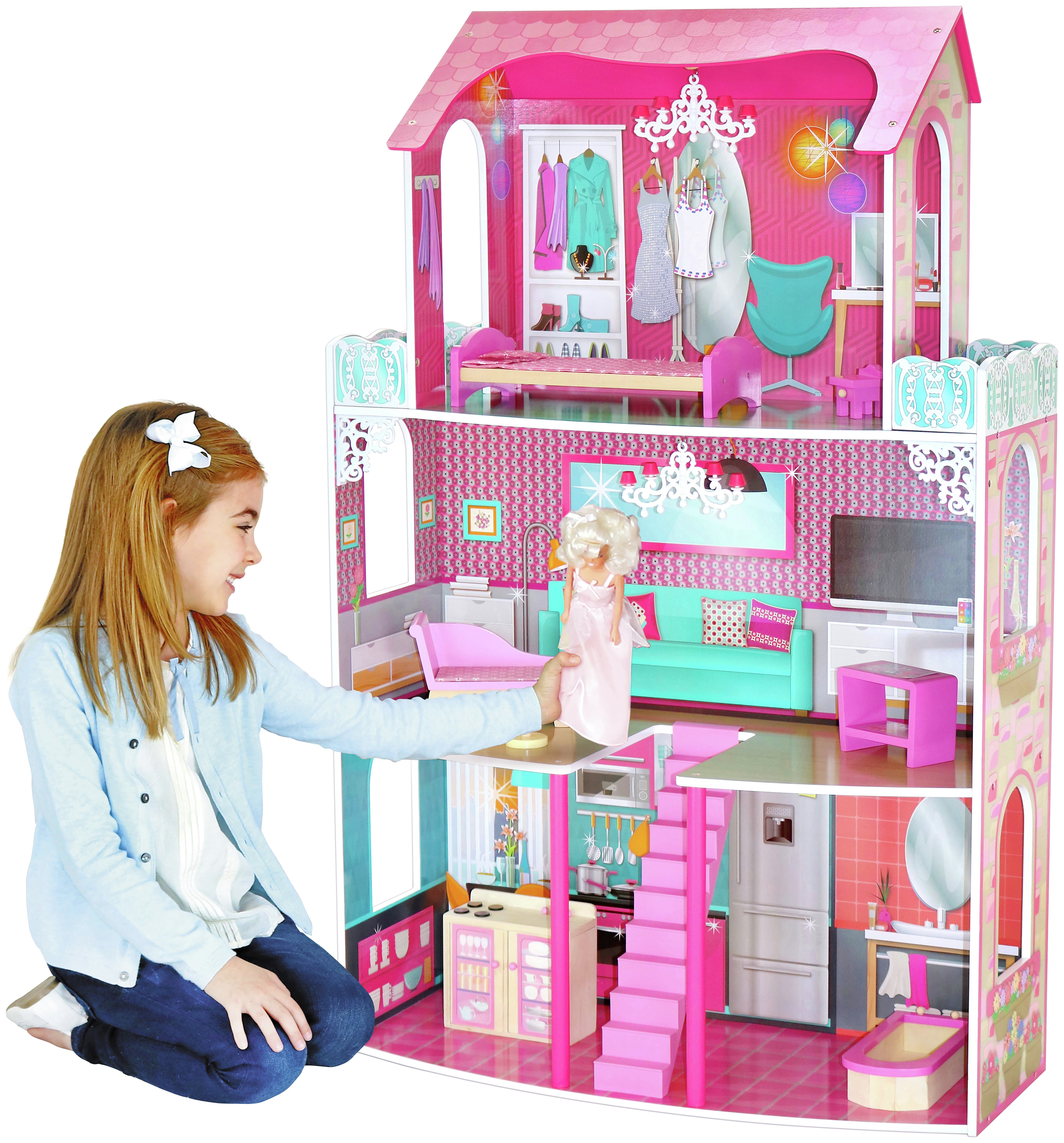 Buy Chad Valley 3 Storey Glamour Mansion Dolls House From