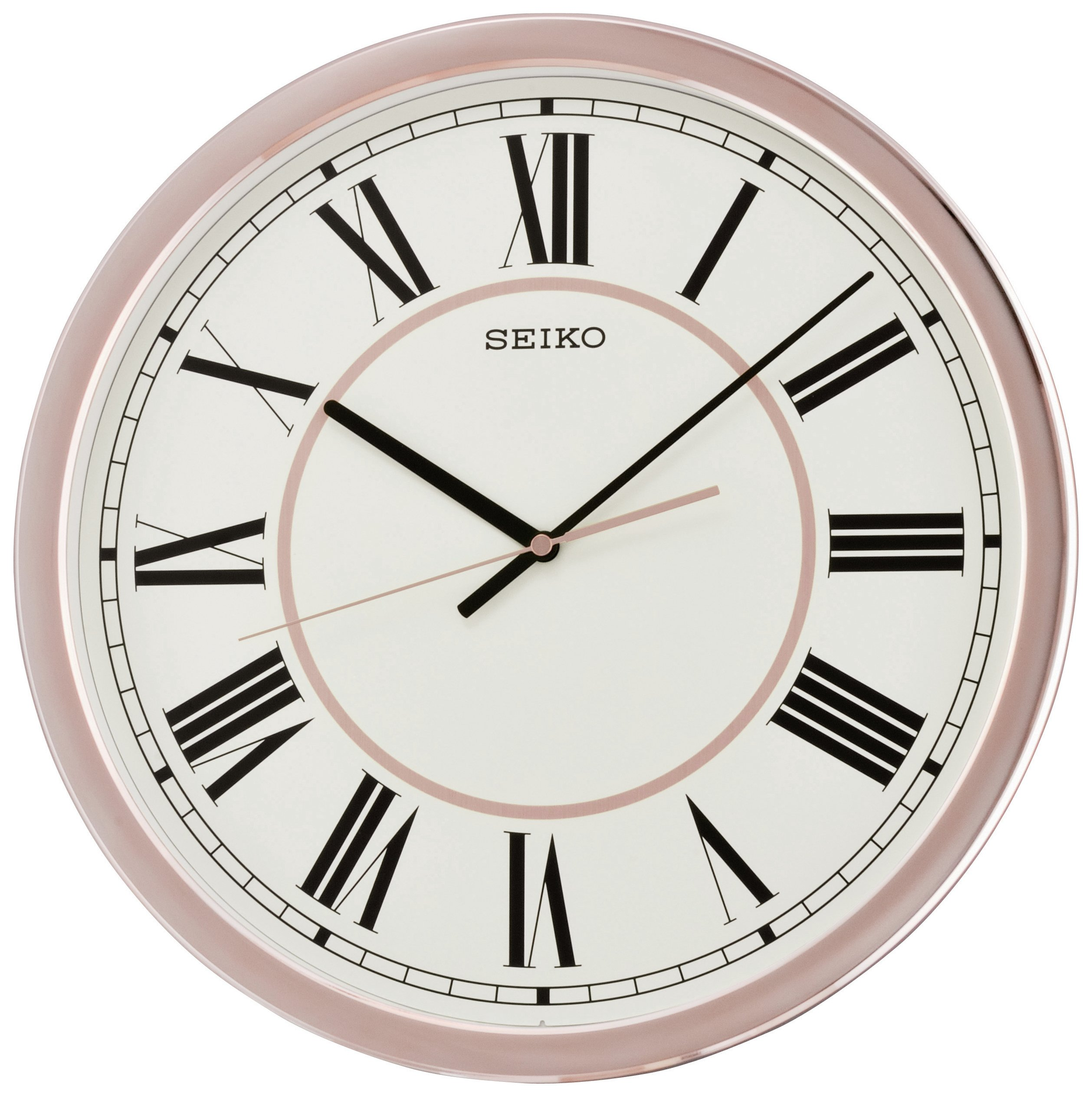 Seiko large rose gold colour plastic wall clock for Large gold wall clocks