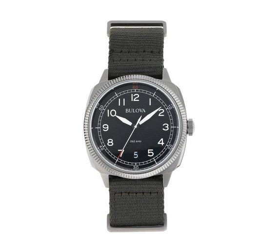 buy bulova men s stainless steel green military strap watch at bulova men s stainless steel green military strap watch538 0873