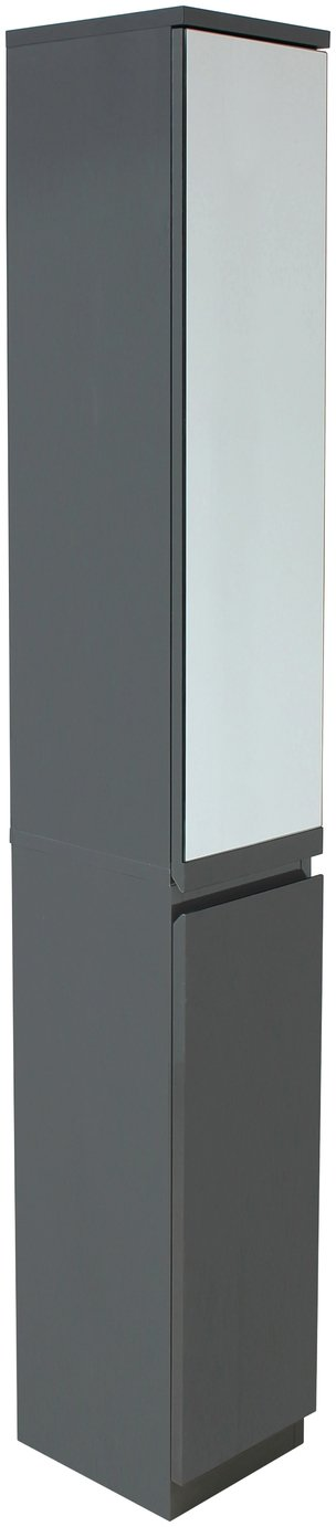 hygena gloss mirrored tall boy storage unit  grey.