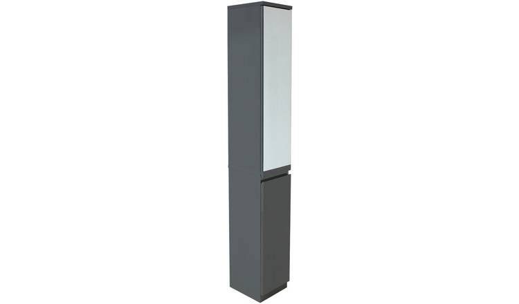 Fine Buy Argos Home Gloss Mirror Tall Bathroom Storage Cabinet Grey Bathroom Shelves And Storage Units Argos Home Interior And Landscaping Ologienasavecom