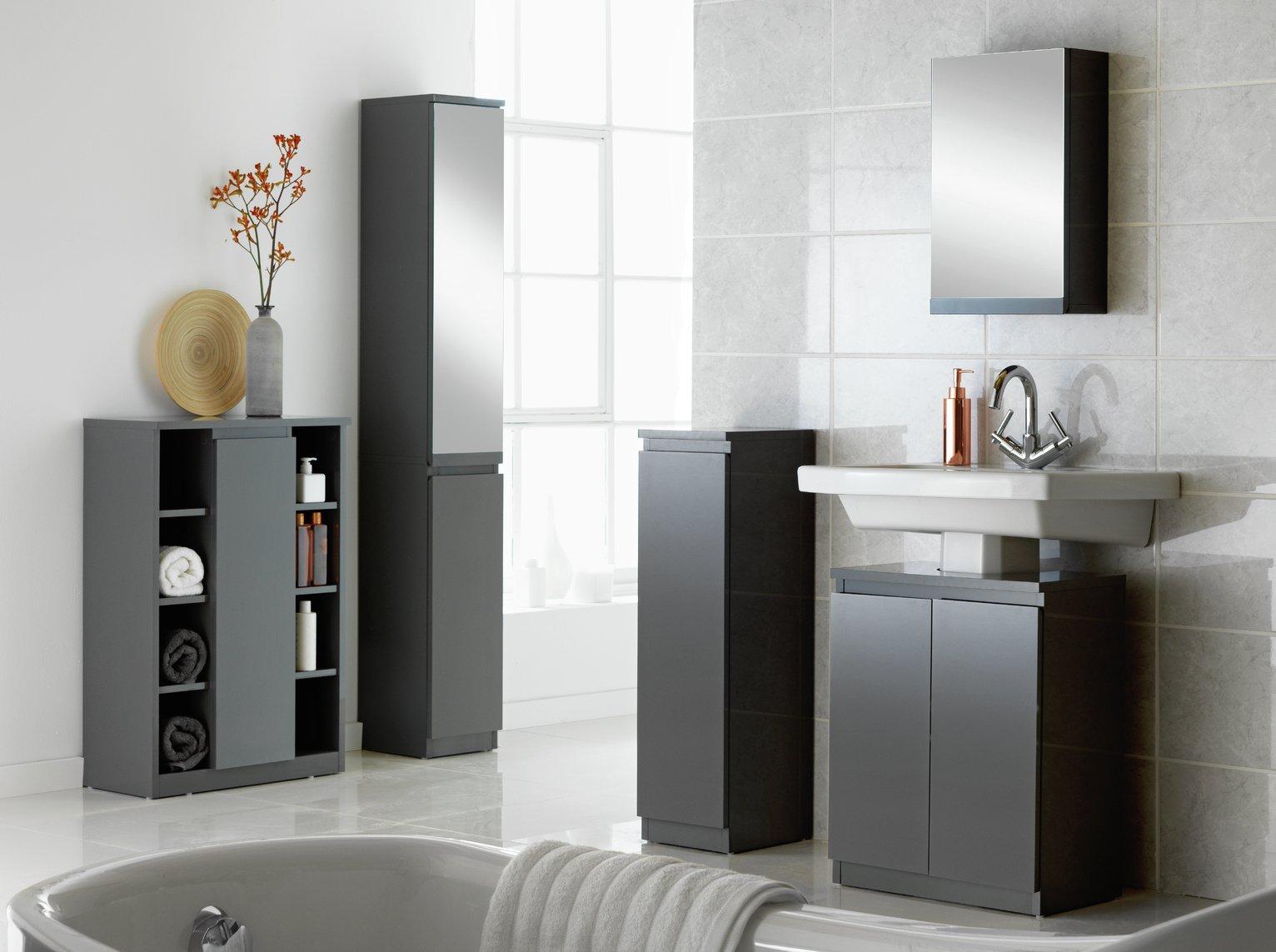 Buy Argos Home Gloss Mirror Tall Bathroom Storage Cabinet Grey