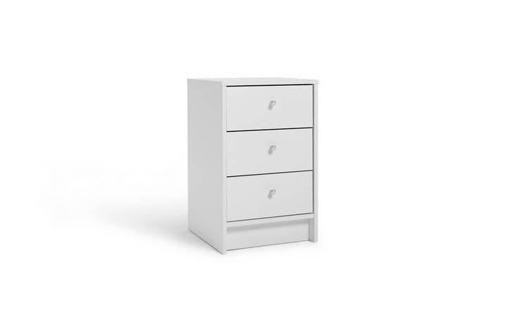 Habitat Malibu 3 Drawer Bedside Table - White