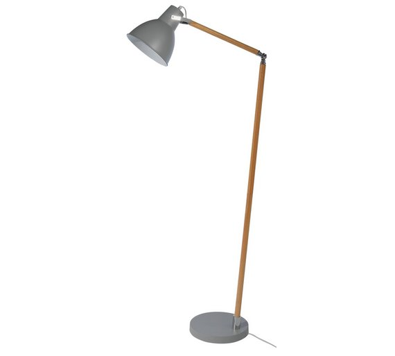 Buy collection twyford wood metal floor lamp grey at for Buy floor lamp online
