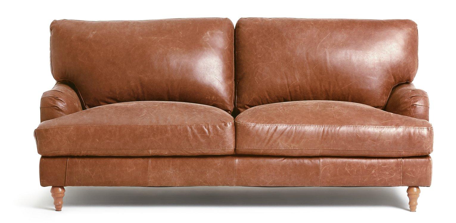 Habitat Livingston 3 Seater Leather Sofa - Tan