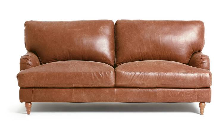 Habitat Livingston 3 Seater Leather Sofa - Tan
