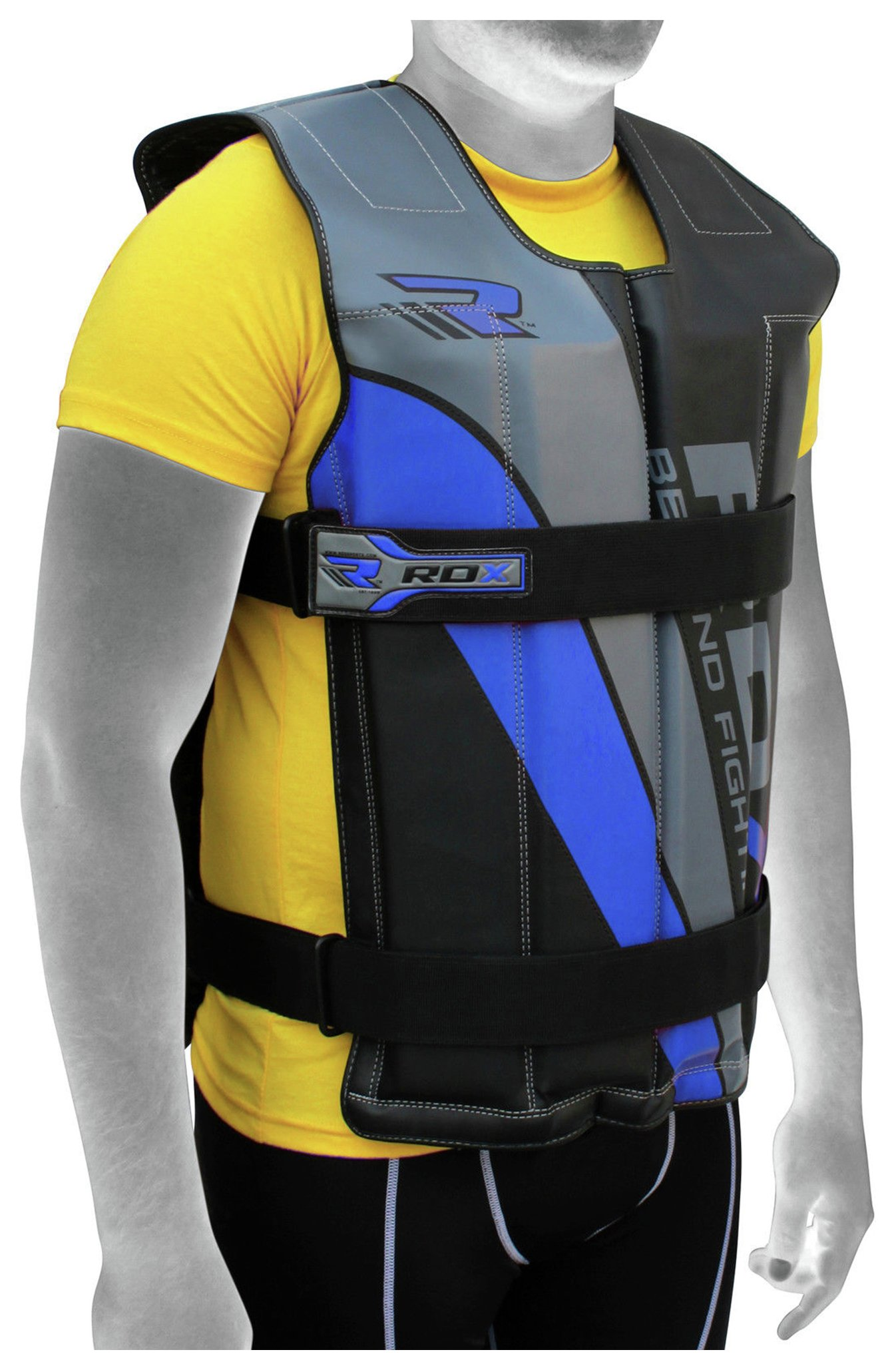 A person wearing RDX adjustable weighted vest