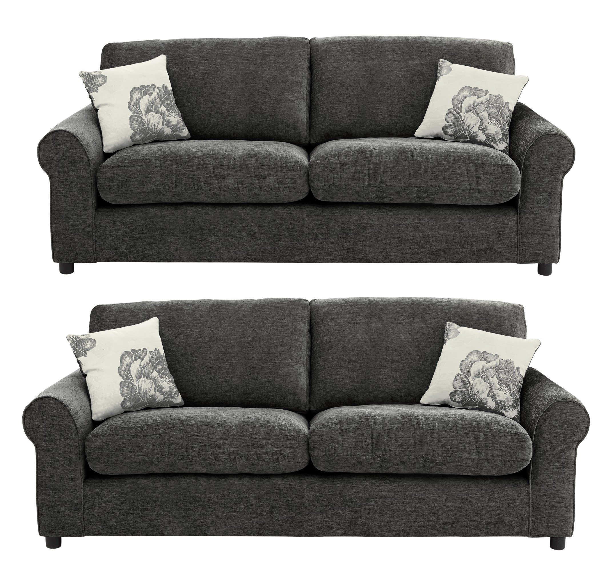 HOME - Tessa Large and Large Fabric - Sofa - Charcoal