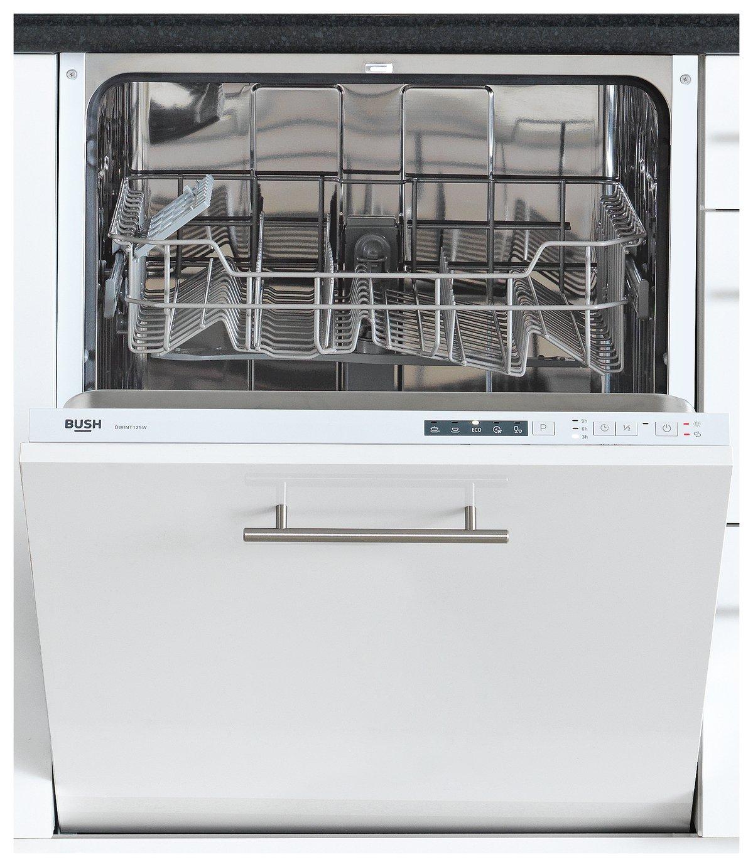 Bush - DWINT125W Integrated - Full Size Dishwasher - White
