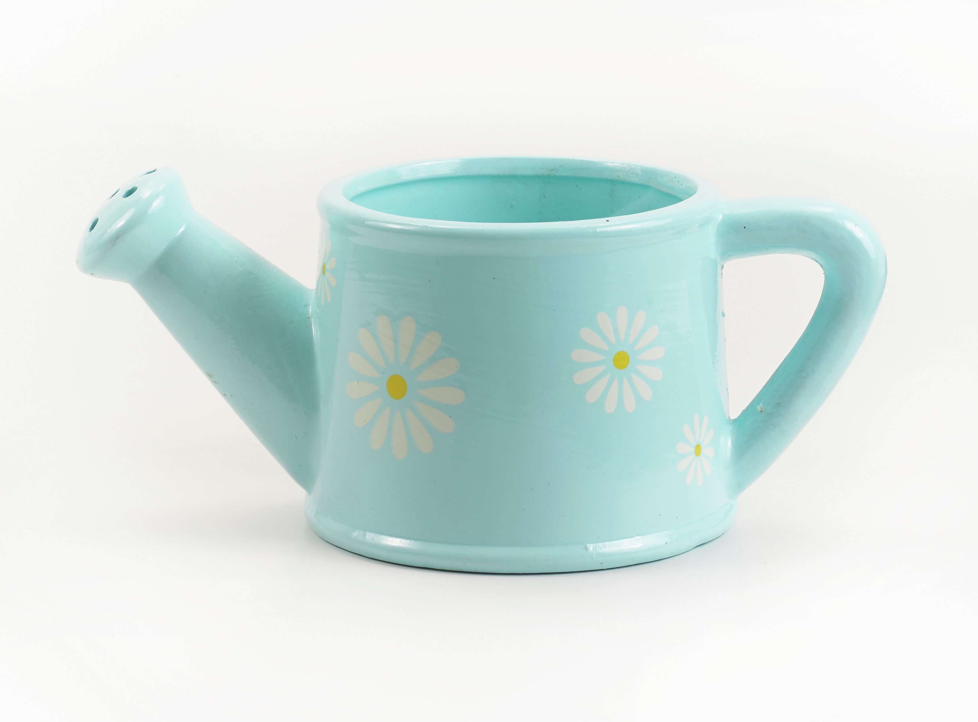 sale on ceramic daisy watering can garden planter. Black Bedroom Furniture Sets. Home Design Ideas