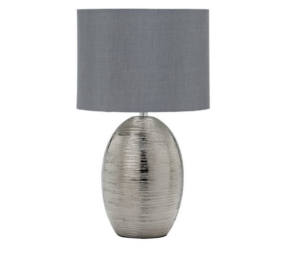 Argos Home Scratched Effect Table Lamp - Silver