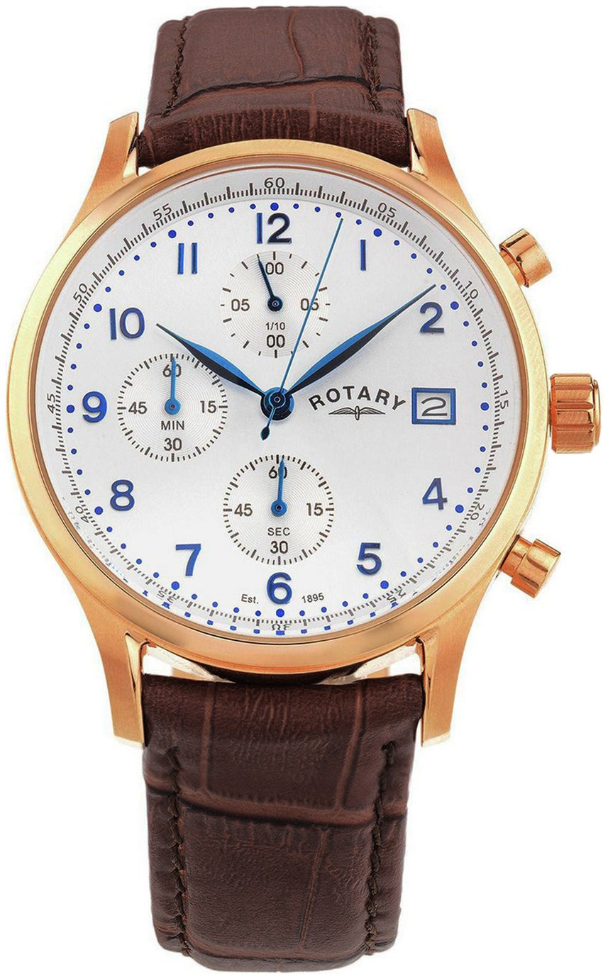 Rotary Men's Rose Gold Plated Strap Watch