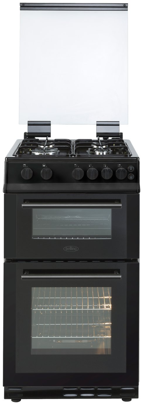 Belling FS50GTCL 50cm Twin Cavity 4 Burners Gas Cooker with LPG Option in Black