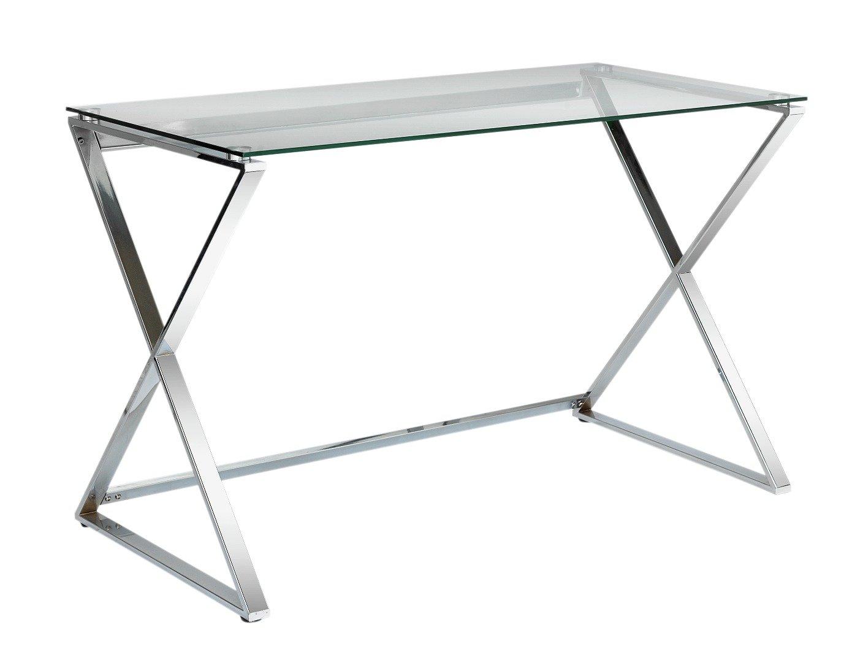 Argos Home Cortez Glass Office Desk - Silver