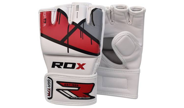 RDX Leather X Grappling Gloves Red - Medium/Large