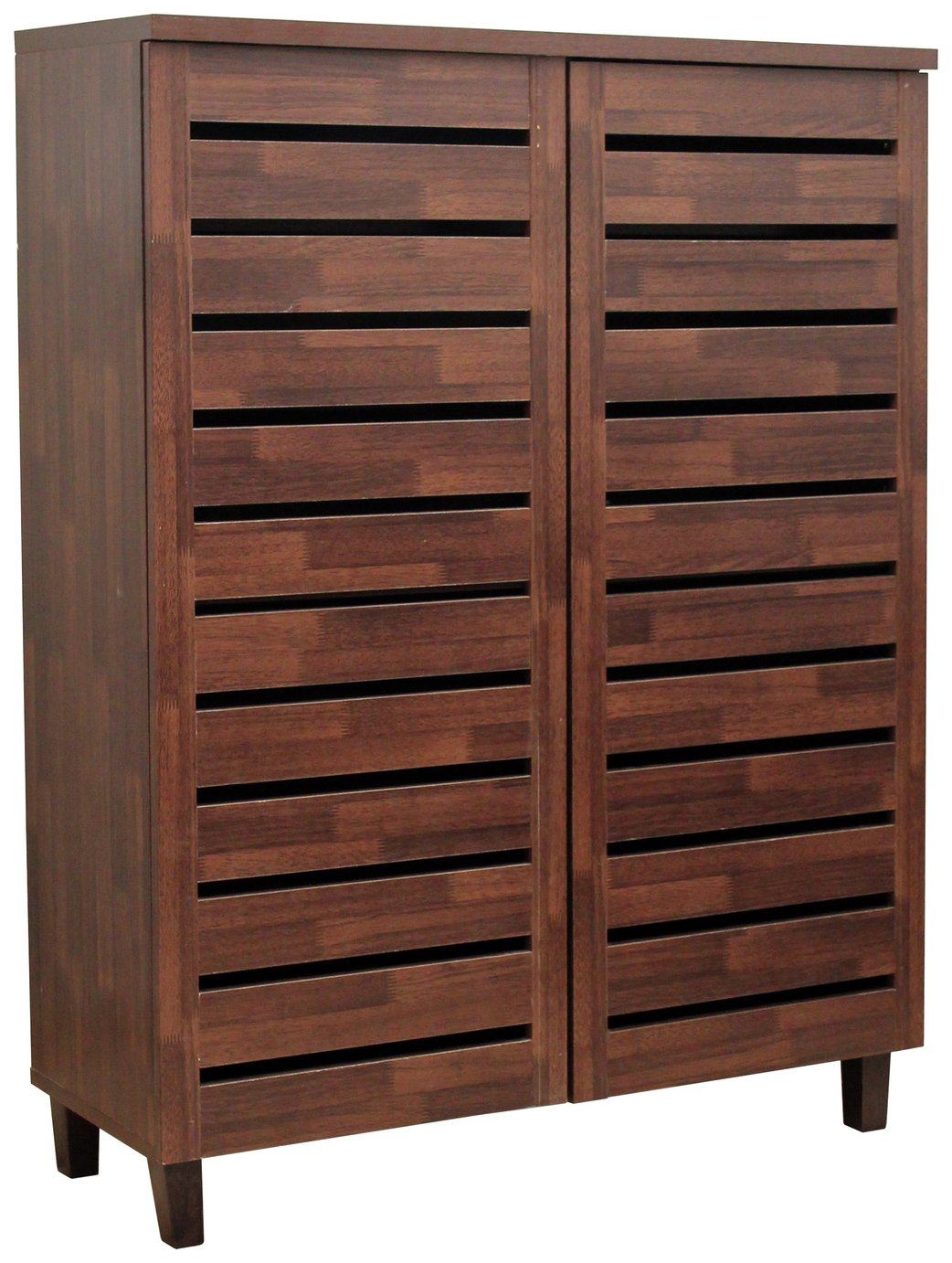 Argos Home Large Slatted Shoe Cabinet - Mahogany Effect