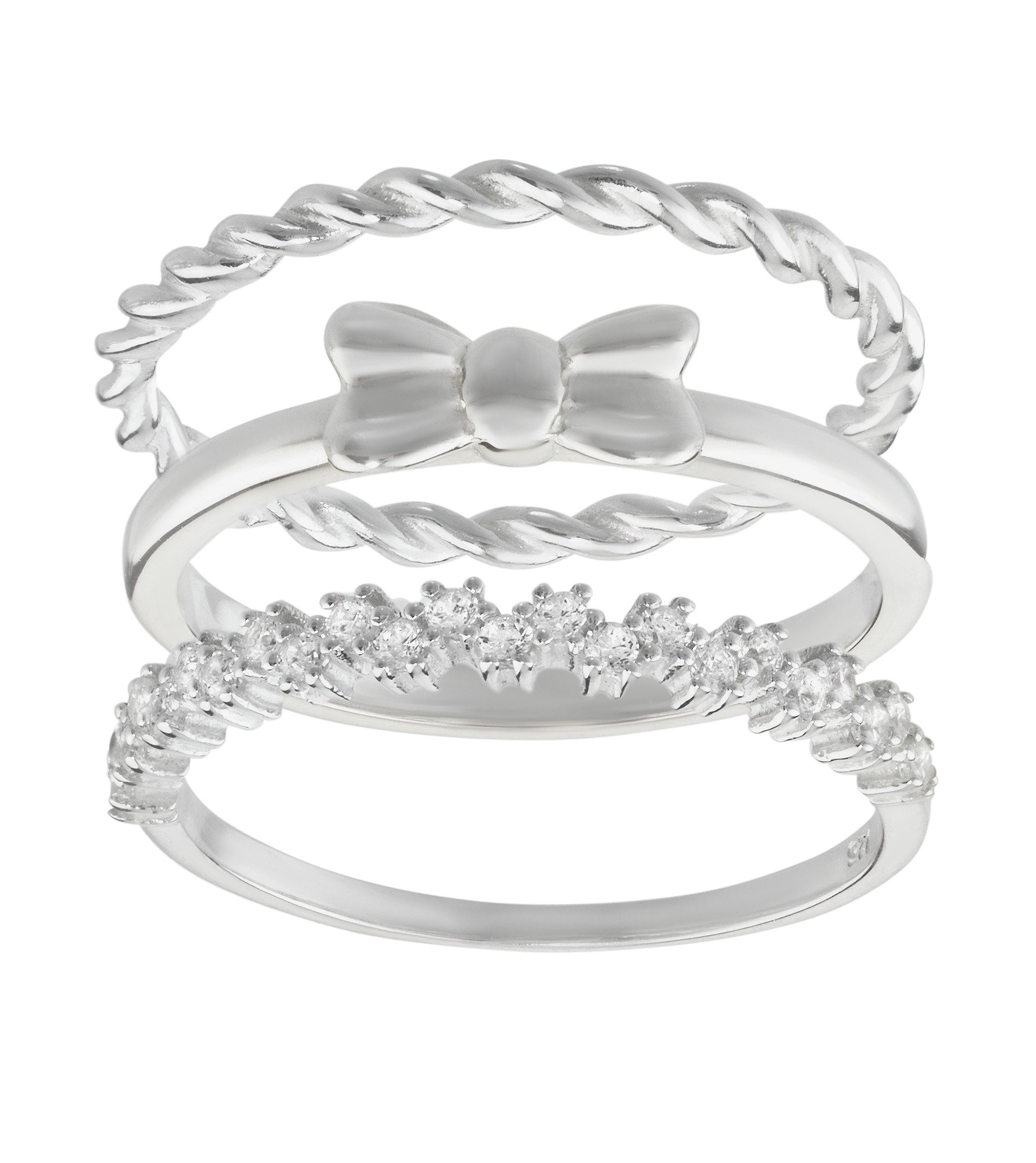buy virtue sterling silver ring set of 3 at argos co uk
