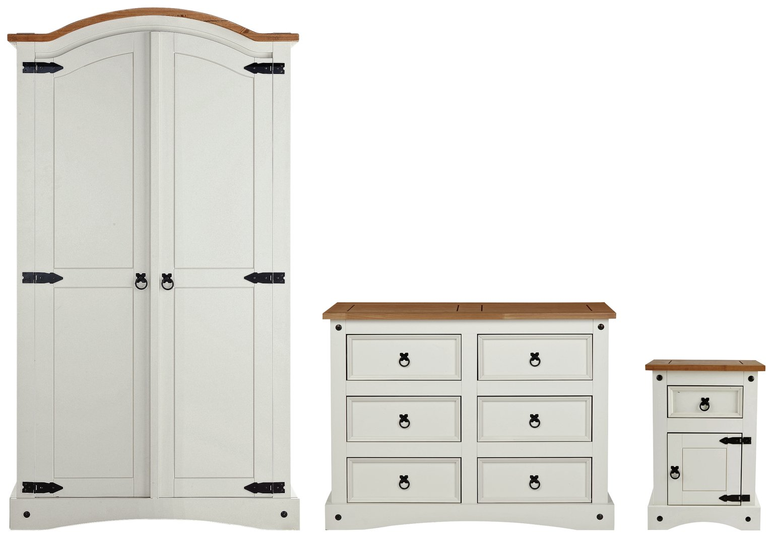 Collection Puerto Rico 3 Pc Bedroom Package - White & Pine