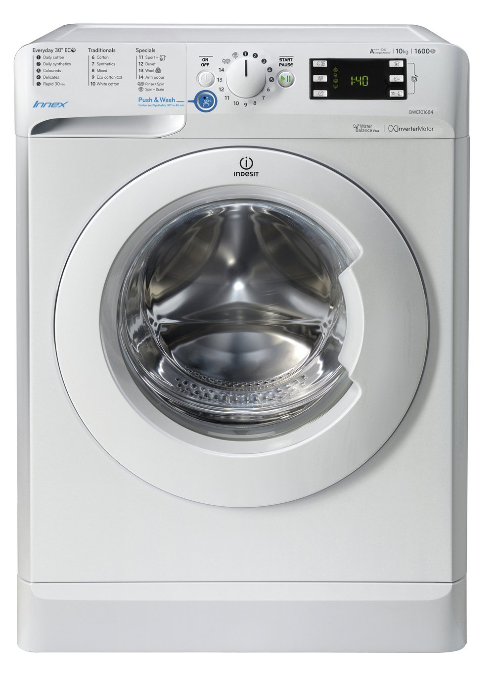 Indesit XWE101683W 10KG 1600 Spin Washing Machine - White