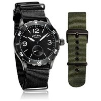 Rotary Leather Adjustable Strap Mens Utilitarian Watch Set