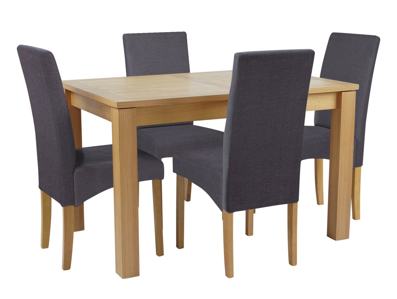 Collection Swanbourne Ext Oak Vnr Table & 4 Chairs -Charcoal