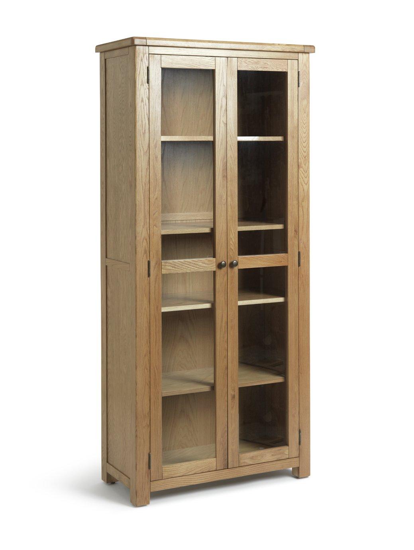 Habitat Kent 2 Door Oak & Oak Veneer Display Cabinet