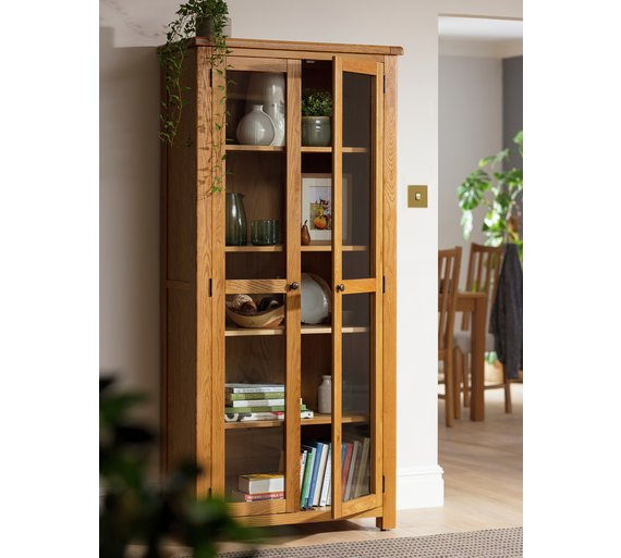 Buy Heart Of House Kent 2 Glass Door Oak Veneer Display Cabinet