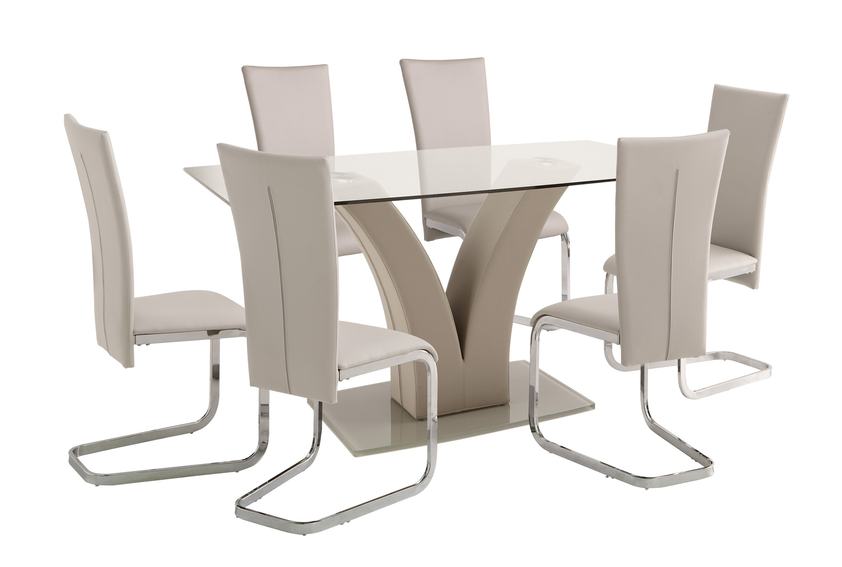 Collection oriana glass table 6 cantilever chairs for 99 normal table
