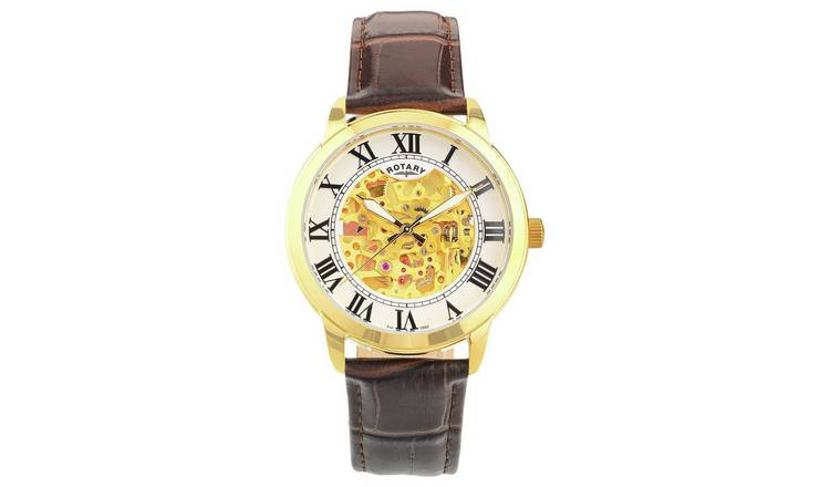 Rotary Men's Brown Leather Strap Watch