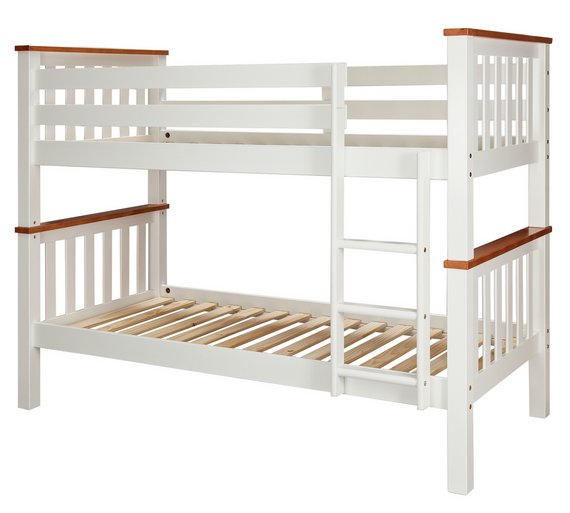 Buy collection heavy duty bunk bed frame white and pine for White bunk bed frame