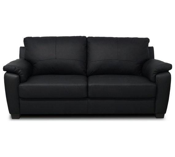 Buy Home Antonio 3 Seater Leather Sofa Black At