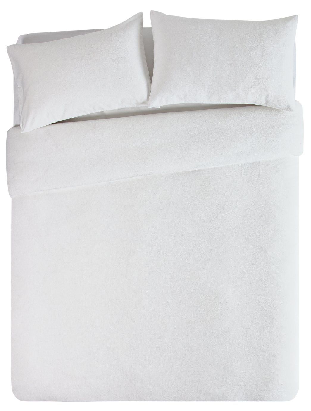 Collection - White Brushed Cotton - Bedding Set - Double