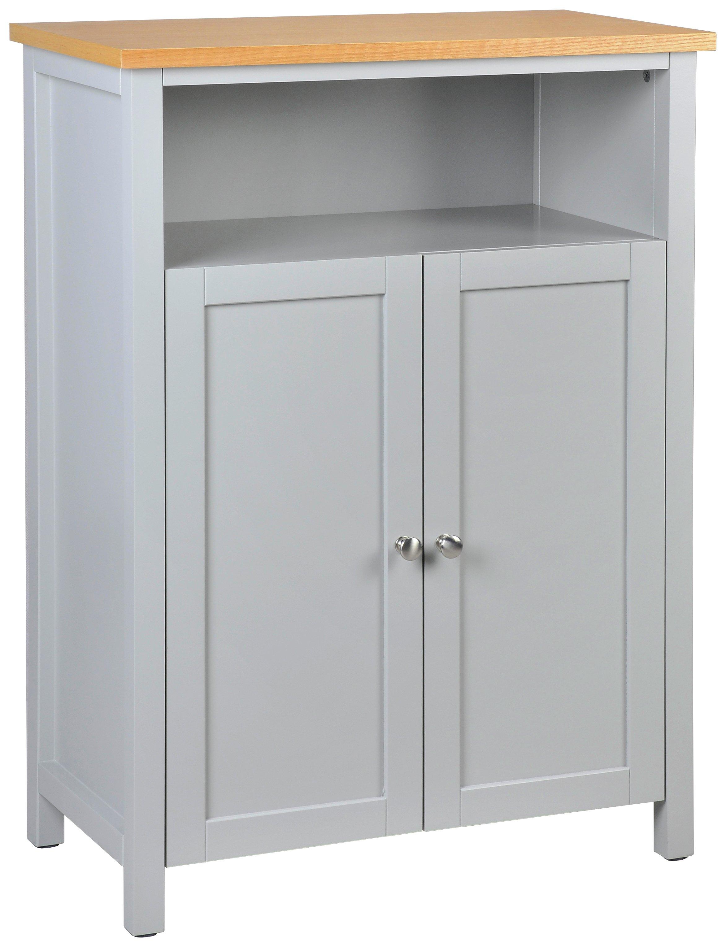 heart of house livingston floor cabinet grey u0026 pine