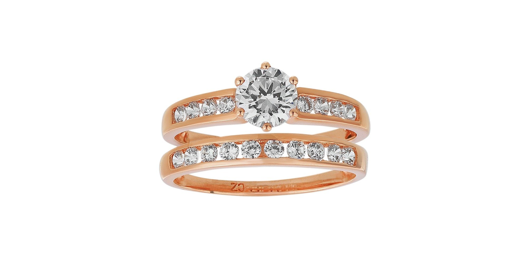Buy 9ct Rose Gold Cubic Zirconia Bridal Ring Set at Argos