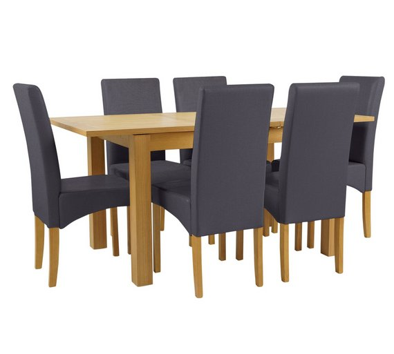 Buy Collection Swanbourne Ext Oak Vnr Table 6 Chairs Charcoal
