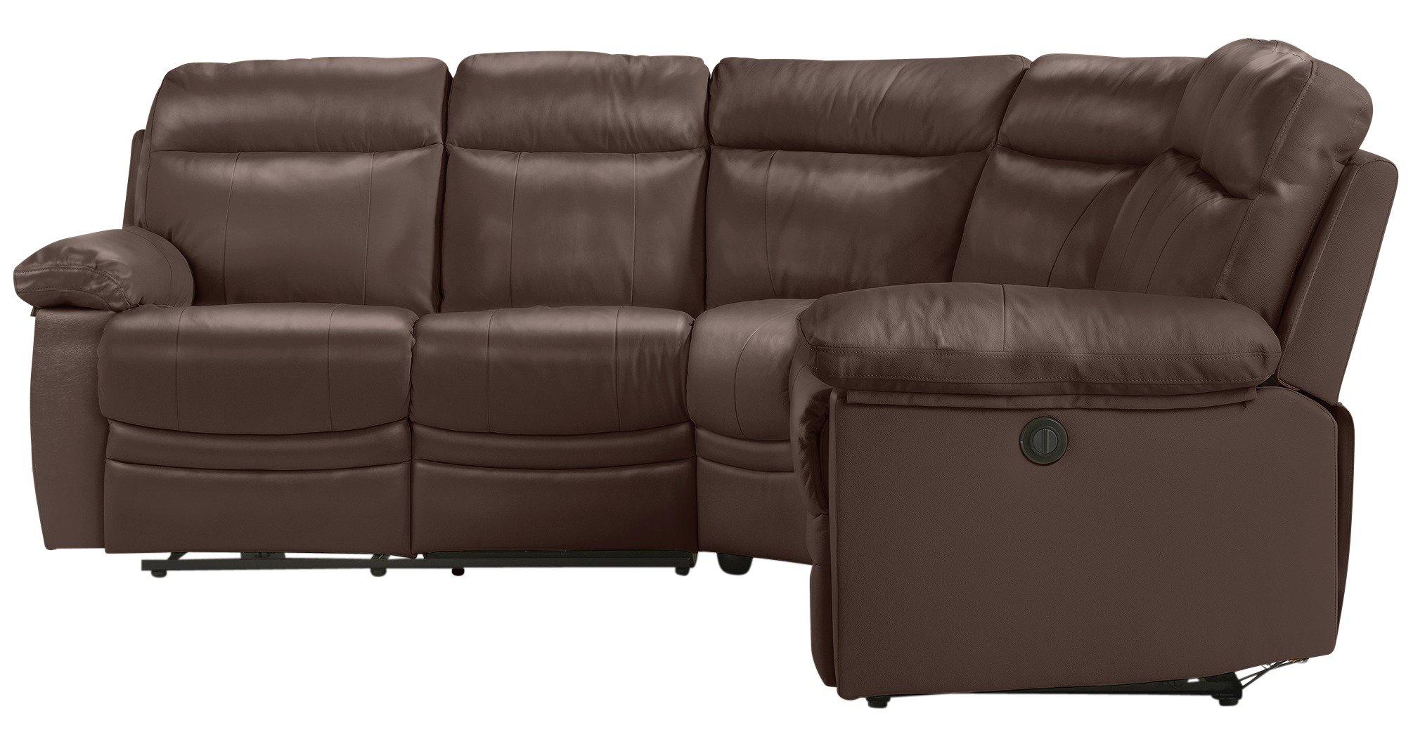 Paulo Leather Recliner Corner Sofa Group Chocolate