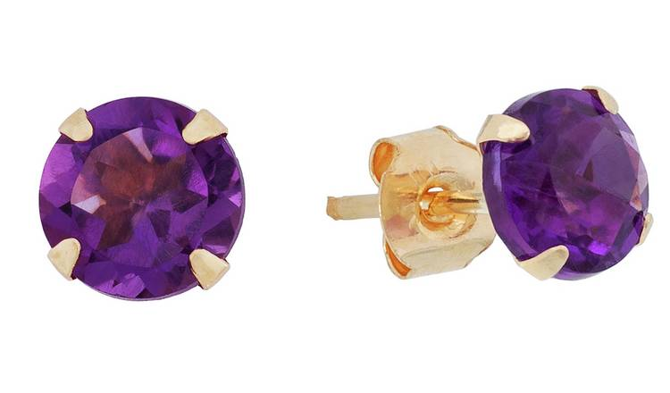 Revere 9ct Yellow Gold Amethyst February Stud Earrings
