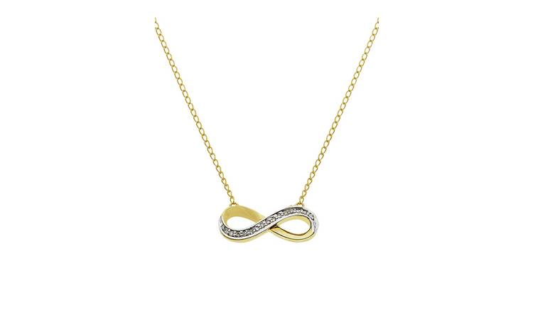 Revere 9ct Gold Diamond Accent Infinity 18 Inch Necklace