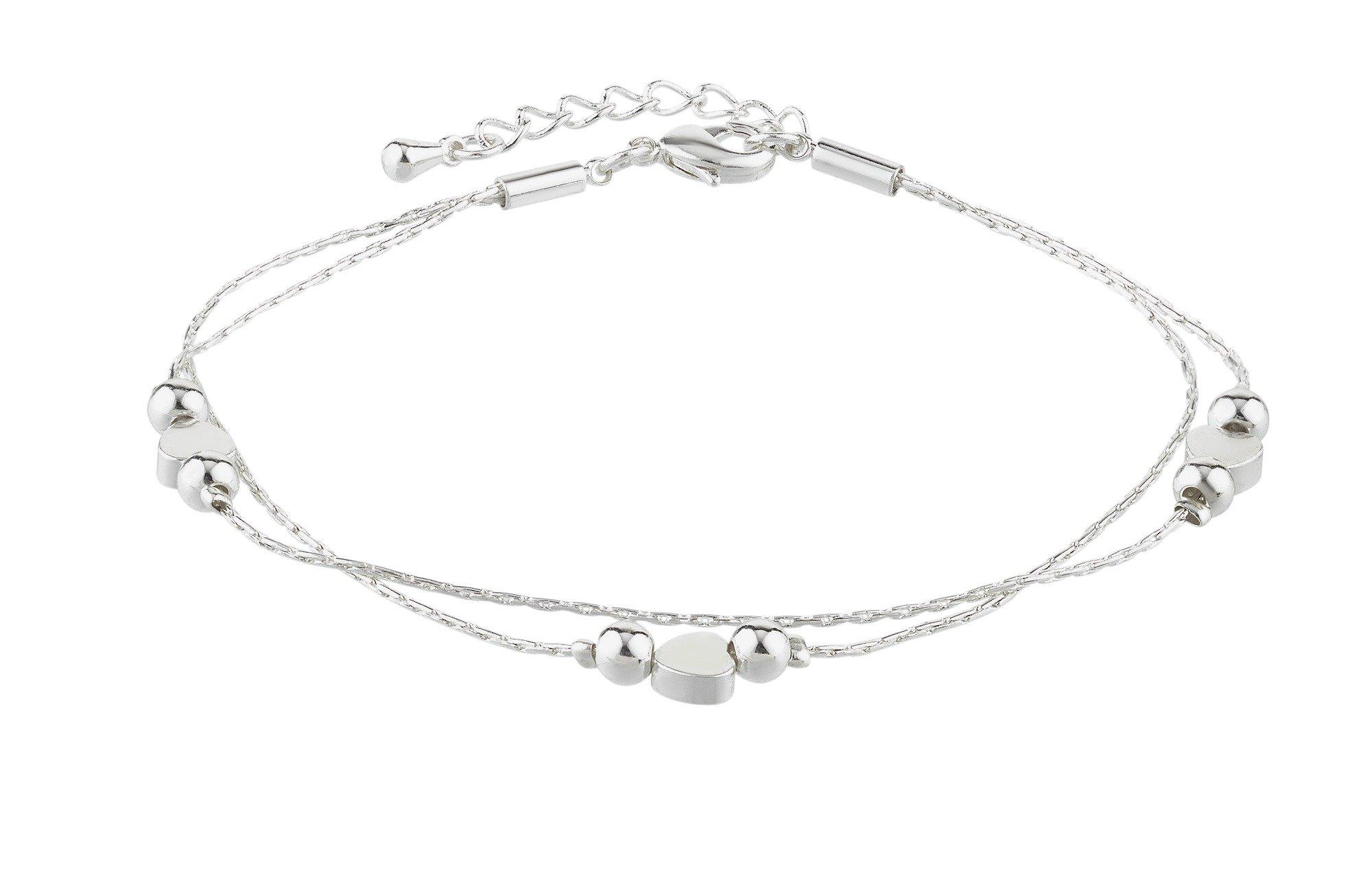 Amelia Grace Standard Silver Coloured Heart Beads Bracelet