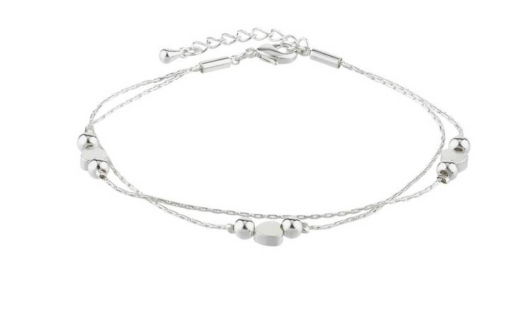 Amelia Grace Standard Silver Coloured Heart Beads Bracelet